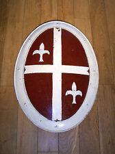 BOUCLIER OVALE style Médiéval 54X75 cm-REPRODUCTION ancienne-FER-CURIOSITAS