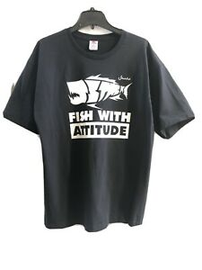 Fish With Attitude T-Shirt (New) Black w/ White Lettering Short-Sleeve (Small)