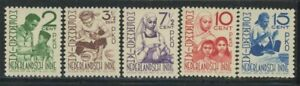 Netherlands Indies 1941 Youth Charity set Sc# B52-56 NH