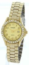 Women's Fossati Gold Tone Stone/Square Studs Bezel Watch Gold Dial With Date