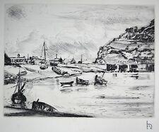 """L.A. DEMANGEON 1909/1979 Pointe sèche """"Fécamp, Avant Port vue vers l'est"""""""