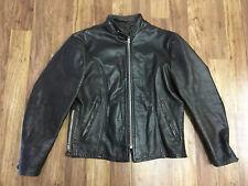 MENS 44 - Vtg 80s Simoo Zip Motorcycle Biker Cafe Racer Brown Leather Jacket