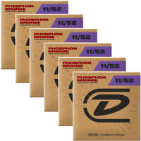6 Sets Dunlop DAP1152 Phosphor Bronze Medium Light Acoustic Guitar Strings 11-52