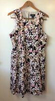 Liz Claiborne Women's Floral Sleeveless Flare Dress Plus Size 16 Cotton Blend