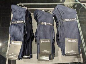 Pantherella Danvers Mens Navy 5x3 Rib Egyptian Cotton Lisle Socks Small 6-7 UK