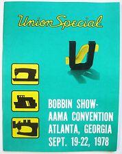 1978 UNION SPECIAL CATALOG apparel industry sewing machine serger lockstitch sew