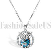 925 Sterling Silver Jewelry Mother And Child Owl Love Heart Pendant Necklace