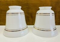 "Vintage Set Of 2 Bell Shaped Milk Glass Lamp Shades With Gold Trim 2 1/8"" Fitter"