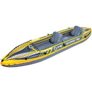Kayak gonflable 2 places + gonfleur , 2 pagaies , aileron fixe  L 350 x l 78 cm