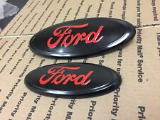 "NEW FORD F150 OVAL FRONT AND REAR GRILLE TAILGATE LOGO EMBLEM BLACK RED 9"" + 7"""