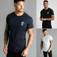 Gym King Mens Crew Neck Short Sleeve Longline Fitted Designer T-Shirt Tee Top