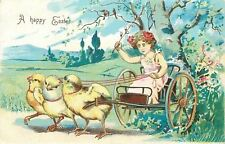 Easter~Harnessed Chicks~Lil Girl in Pink Drives Buggy~Pussy Willow Whip~Germany