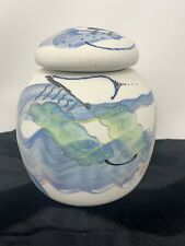 "Rothrock Art Pottery Abstract COVERED JAR Signed 6.5"" tall without cover"
