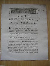 ACTE DU CORPS LEGISLATIF au sujet du Conseil général de Nantes 1792