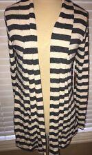 Always Me HACCI Navy/Cream Stripe Open Cardigan SUEDE ELBOW PATCH  MED EUC