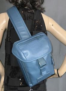 Coach Men's Mini Ranger Reef Blue  Leather Crossbody Sling Pack Bag 1946 NWOT