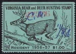 Virginia VA Hunting Bear and Deer Stamp Used 37 1956-57 Resident $1.00