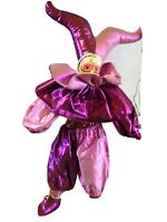 1986 Brinns Clown Jester Doll Pink and Purple w. Metal Stand-Celluloid Face/Hand