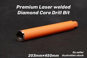 "Premium Laser welded Diamond Core Drill Bit 203mm x 450mm  1-1/4"" NUC"