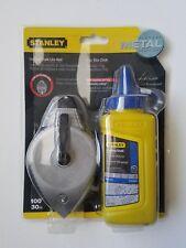 Stanley Diecast Metal Chalkline Reel & 4 oz Blue Chalk Bottle (New)