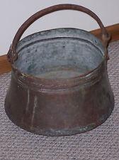 Primitive Antique Large Copper Hanging Hearth Kettle, Copper Pot, Cauldrin