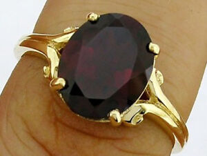 R080 Genuine 9ct, 10K, 18K Solid Gold Natural Garnet Ring 4.00ct Oval Solitaire