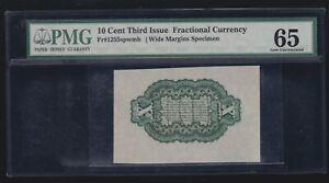 US 10c Fractional Currency FR 1255sp Green Reverse Wide Margin PMG 65 GEM (02)