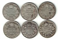 6 X CANADA TEN CENTS DIMES EDWARD GEORGE SILVER COINS 1909 - 1914 SEE DATES