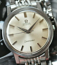 Vintage 1960s Omega Automatic Seamaster Watch Silver Dial Beads of Rice Bracelet