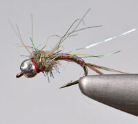1 Doz Flies - Tungsten Bead Rainbow Warrior Midge Nymph Fly - Mustad Signature
