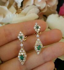 Estate Emerald, and Diamond Drop Earrings in 14k Yellow Gold - HM1222