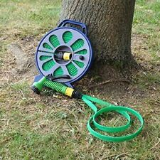 50FT 15M LAY FLAT HOSE PIPE REEL WITH SPRAY NOZZLE GUN GARDEN OUTDOOR WATERING