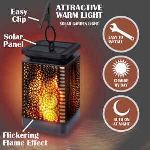 Flickering Flame Effect Solar LED Lantern Light Waterproof Garden Hanging Lamp