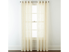 "JCP Home Serene Embroidery Sheer Grommet-Top One Curtain Panel, 50"" x 108"" Ivory"