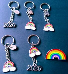 Rainbow gifts. Badge key rings. lock down family, hero, thank you. nhs