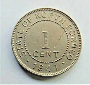 1941H BRITISH NORTH BORNEO Copper nickel One Cent grading EXTRA FINE.