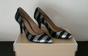 NWB MICHAEL Michael Kors Flex Mid Pointed-Toe Black/Silver Sequin Pumps Size 7M