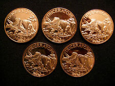 1 Ounce .999 Copper Round Triceratops Dinosaur(5 Coins)