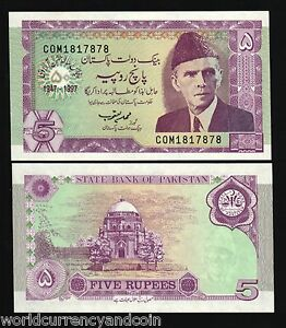 PAKISTAN 5 RUPEES P-44 1997 Commemorative Jinnah UNC Pakistani BILL BANK NOTE