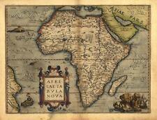 Abraham Ortelius Afrika Neu Reproduktion Antik Alt Groß Farbe Farbe Karte Plan