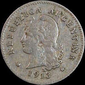 1913 Argentina 10 Centavos - Round Top 3 - Semi-Key
