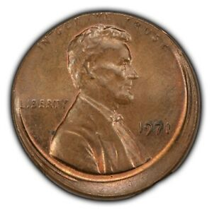 1971 1c Lincoln Memorial Small Cent - Off-Center Strike - Brown w/ Red - Y3552
