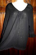Black peasant tunic top 1X 2X boho hippy crocheted lace trim gypsy gauzy resort
