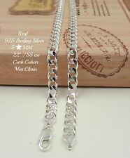 "22"" REAL 925 Sterling Silver Italy Curb Heavy Men Chain Necklace 5MM 25 Grams A1"
