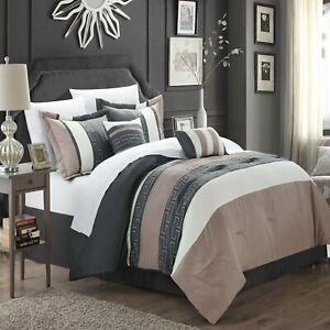 Carlton Taupe Grey & Tan 6 Piece Comforter Bed In A Bag Set