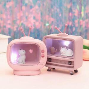 Cute TV Cat Lamp Pink LED Nightlight Gift Home Decor Hot