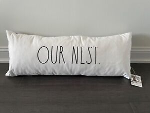 """RAE DUNN """"OUR NEST"""" Long Body Pillow. New Release! New with tags! Grey and white"""