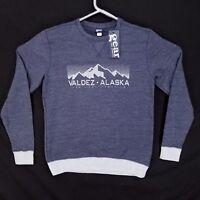 Mens M Gear for Sports Long Sleeve Sweat Shirt Blue New Valdez Alaska $25 Retail