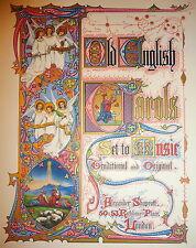 Old English Carols Set to Music.  Folio with Illuminated Pages, Shapcott Ca 1875