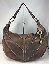 Fossil Ari Brown Suede Leather Pieced Hobo Shoulder Bag EUC        #7